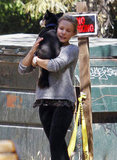 Kristen Bell with a dog.