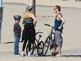 Kate Hudson and Ryder riding bikes with Goldie Hawn.