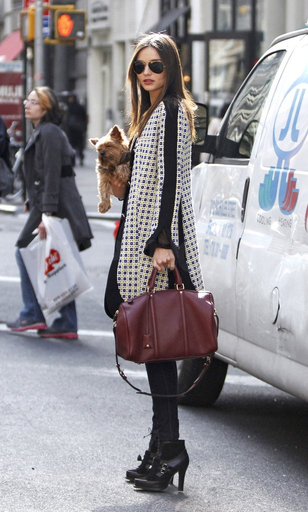 Miranda Kerr walking with her dog Frankie in NYC.