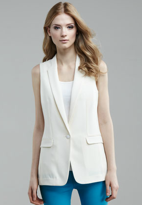 Streamlined and sophisticated, we love the look of this sleeveless blazer against a soft, pleated maxi skirt and sandals on a hot day at the office.  Rag & Bone 42nd Street Sleeveless Blazer ($395)