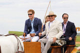 Harry arrives in a horse drawn carriage at the Sentebale Royal Salute Polo Cup.