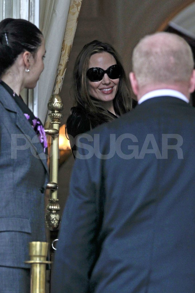 Angelina Jolie smiled in Amsterdam.