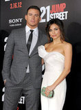Jenna Dewan's matching earrings and clutch really stand out next to Channing Tatum at the premiere of 21 Jump Street in LA.