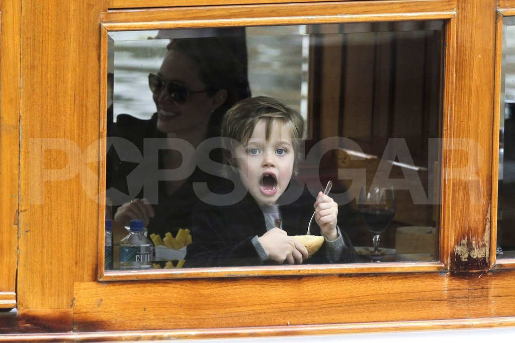 Shiloh Jolie-Pitt and Angelina Jolie hung out on a canal boat.
