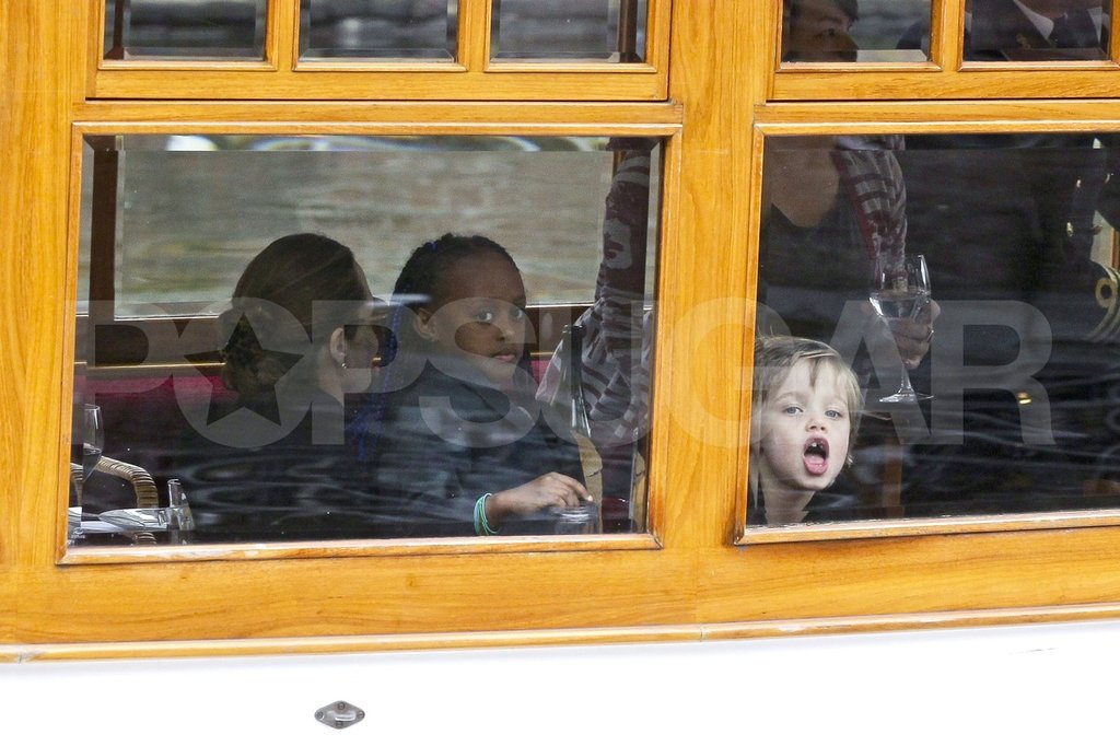 Shiloh Jolie-Pitt and Zahara Jolie-Pitt made funny faces on a boat.