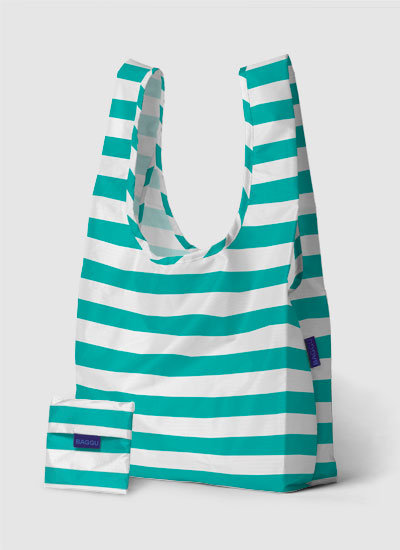 A carry-everything Spring tote that's perfect for the farmers market or the beach.  Baggu Bag in Sea Stripe ($9)