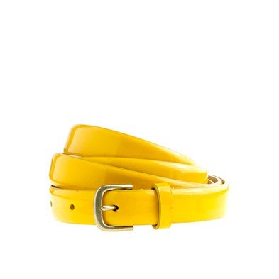 This neon yellow belt will dress up an LBD in no time.  J.Crew Patent Leather Skinny Belt ($37)