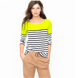 We would need to dedicate an entirely new story to how much we love this boatneck tee — what can go wrong with neon and nautical stripes?  J.Crew Colorblock Stripe Boatneck Tee ($45)