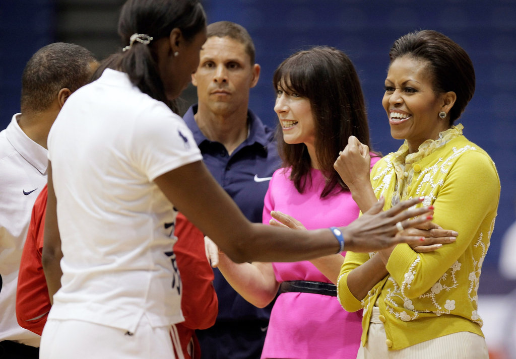 The first ladies greet the kids.