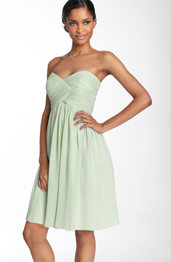 Donna Morgan strapless silk chiffon dress ($158)