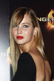 Jennifer Lawrence at The Hunger Games premiere in Paris.