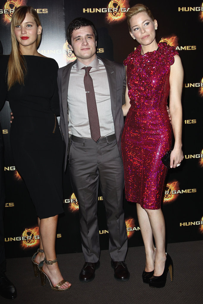 Jennifer Lawrence, Josh Hutcherson, and Elizabeth Banks at The Hunger Games premiere in Paris.