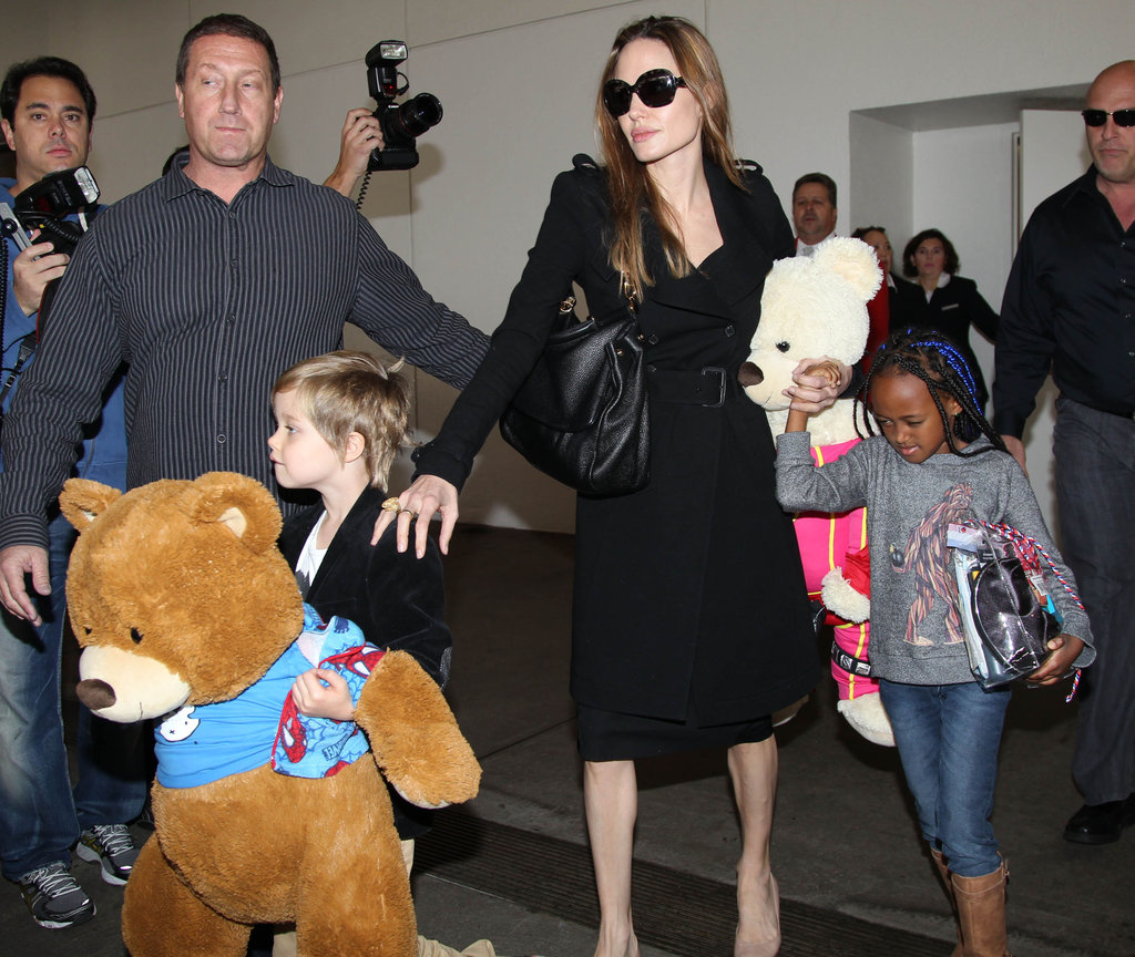 Angelina Jolie Returns to LA With Frequent Fliers Zahara and Shiloh