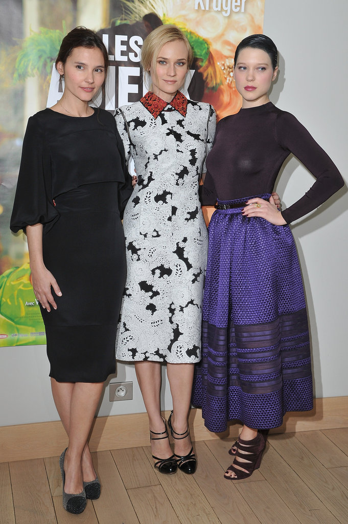 Diane Kruger, Léa Seydoux, and Virginie Ledoyen at the Farewell, My Queen premiere in Paris.
