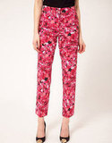 Wear these rose printed pants with a black tee and booties for a sweet but tough look.  ASOS Cropped Pants In Pink Floral Rose Print ($75)