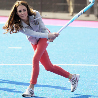 Kate Middleton Playing Hockey in Coral Pink Jeans