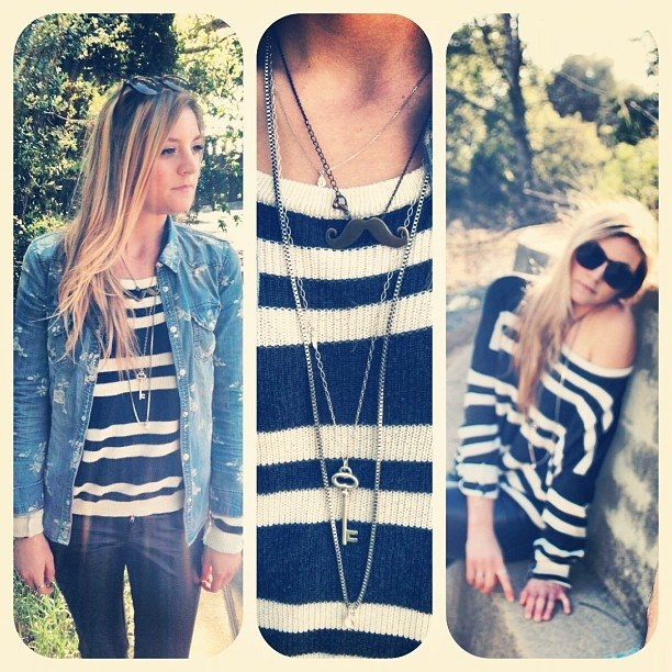 Bellagolk got in on the stripes and jewelry action.