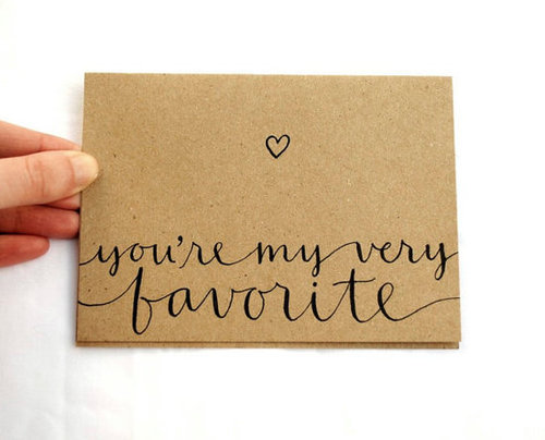 Romantic Greeting Card with Handwritten Calligraphy . You're My Very Favorite . Brown Kraft
