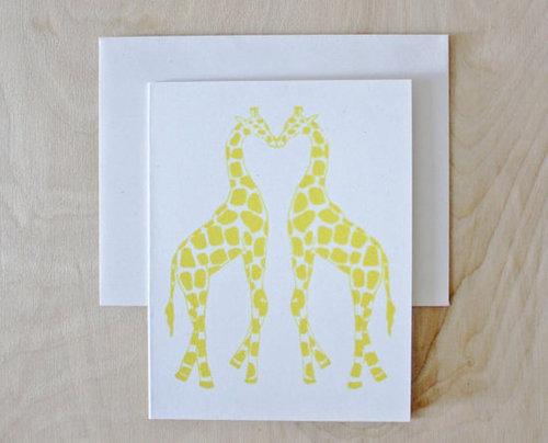 Giraffes Card Screenprinted- Valentine's Day