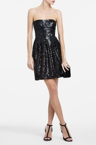 CAROL STRAPLESS SEQUINED COCKTAIL DRESS