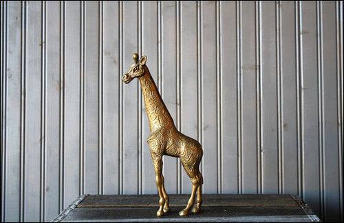 Large Brass Giraffe // Solid Brass