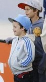 Cruz and Romeo Beckham cheer on dad, David, at the LA Galaxy game.
