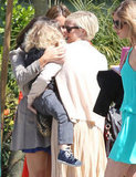 Ashlee Simpson and son, Bronx, at her sister Jessica's baby shower.