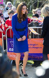 Kate Middleton in a blue Reiss dress.
