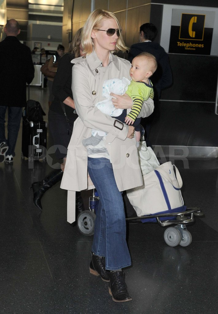 January Jones Brings Xander to the Big Apple For a Mad Week