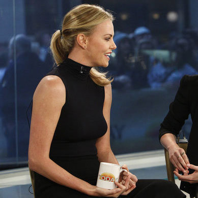 Charlize Theron wore all black on Today.