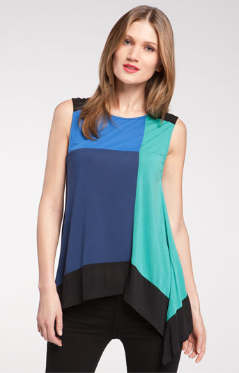 The asymmetric graphic print top gives this colorblock top an edgy pop.  BCBGMAXAZRIA Aven Colorblock Tank ($78)