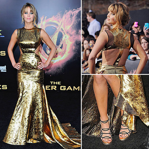 Jennifer Lawrence in Gold Cutout Prabal Gurung