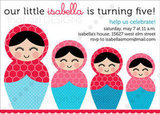 Matryoshka Nesting Dolls Birthday Invite ($10)