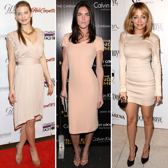Celebrities in Nude Dresses