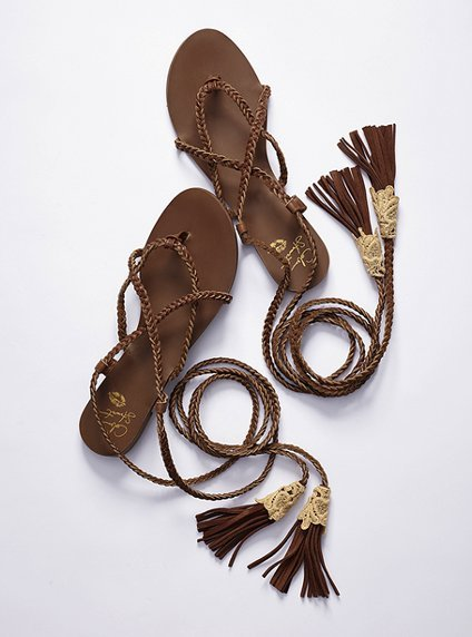 Comfy shoes are key to a non-achy feet music festival experience. The long tassels on these sandals will add a hippie Roman vibe to any look.  Colin Stuart Leather Wrap Sandals ($68)