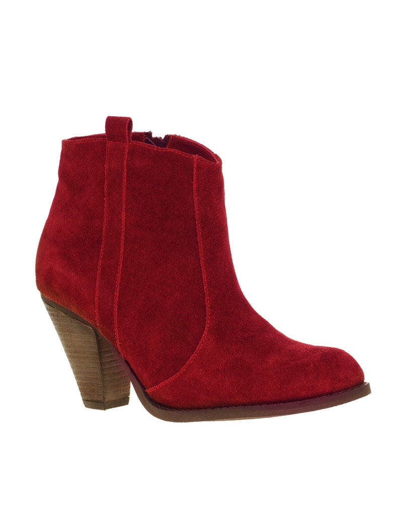 Camel boots are cute, but aren't these red renditions even better? ASOS Aggie Suede Pull On Casual Heel Ankle Boots ($52)