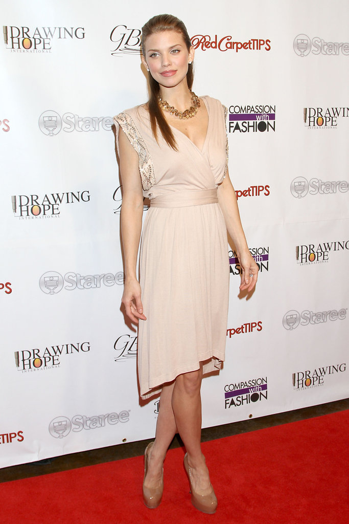 AnnaLynne McCord had an easygoing evening look in her nude asymmetric-hem dress. Now shop your own!