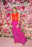 Alexandra Richards took colorblocking to an ultrasophisticated level in a fuchsia and tangerine gown.