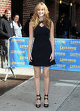 Jennifer posed outside The Late Show in a sweet Roal LBD with just a hint of sexy appeal via a key-hole neckline and cutout Jimmy Choo heels.