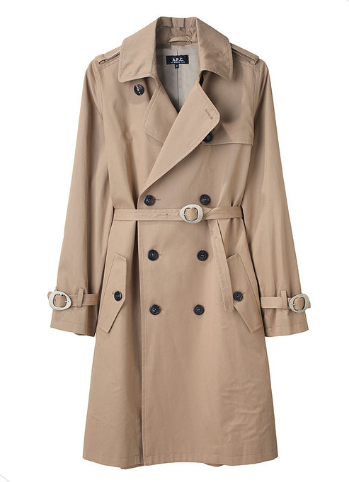 If you're looking for the kind of trench coat you'll never have to retire or upgrade with the comings and goings of trends, this one will stand the test of time.  A.P.C. New Trench ($500)