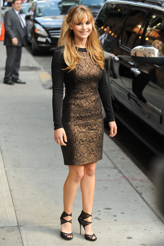 Jennifer Lawrence wowed in a Prabal Gurung dress on her way out of The Late Show studios in NYC this week.