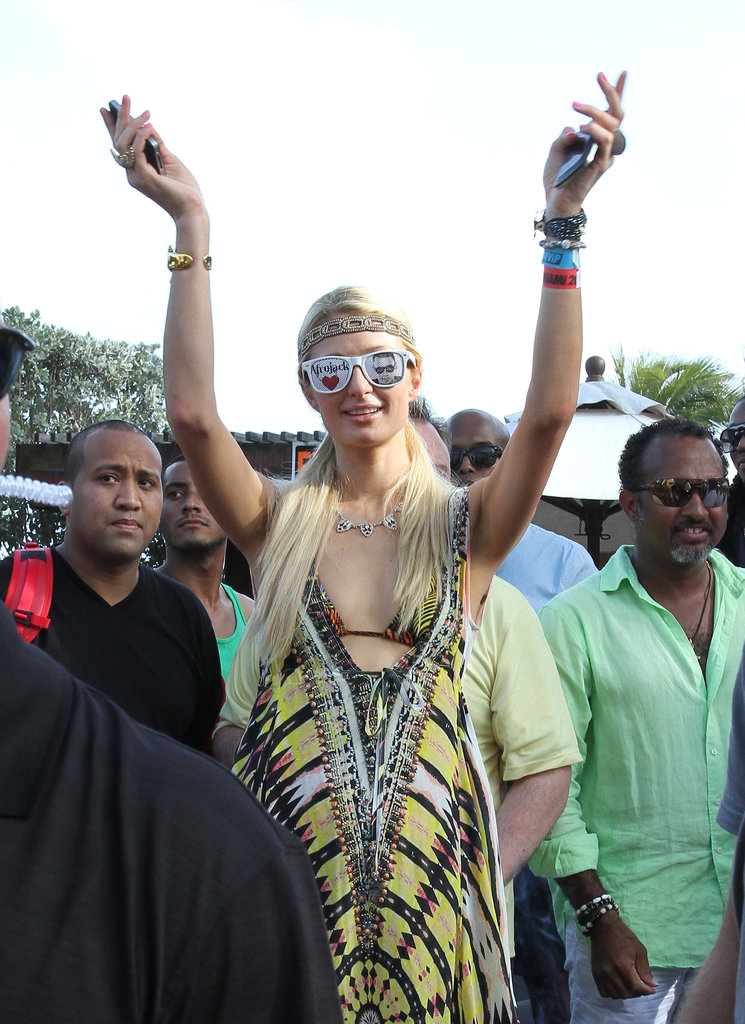 Paris Hilton put on some funky sunglasses while hanging out in Miami.