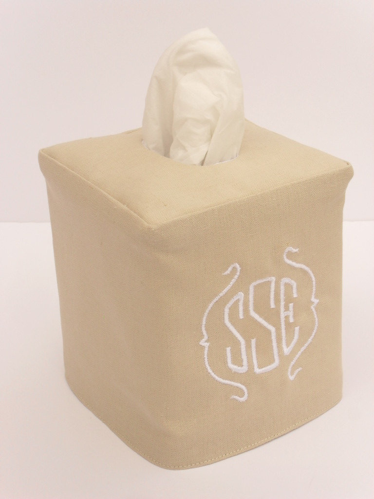 Go the preppy traditional route with the simple Monogram Linen Tissue Box Cover ($23), which comes in several different colors.