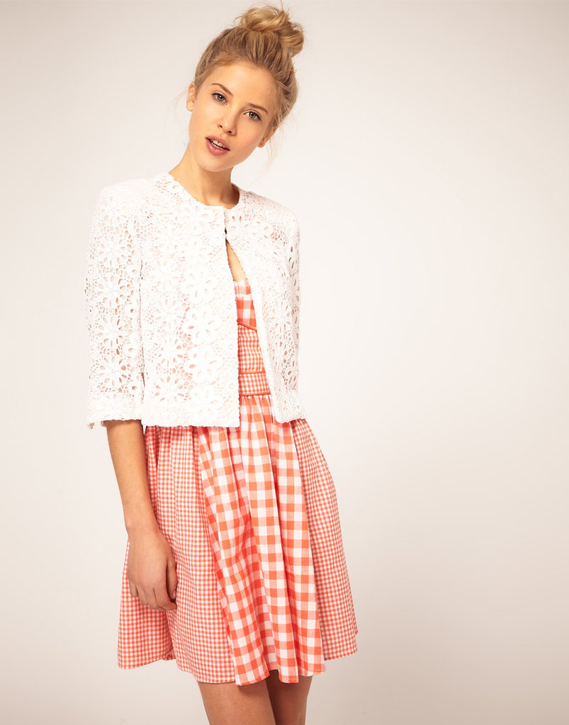 Make the switch from a blazer to lightweight lace jacket for added interest. This would make the perfect feminine complement with cropped trousers.  Asos Blazer in Cotton Lace ($90)