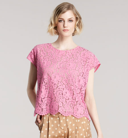In soft pink this feels ultra-pretty, but a slouchy t-shirt silhouette gives it a cooler feel.  Robert Rodriguez Lace Tee ($265)