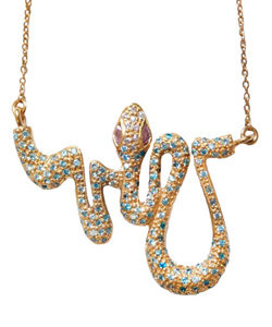Max &amp; Chloe - Melinda Maria Nikki Serpent Baby in Blue Topaz Necklace - Max and Chloe