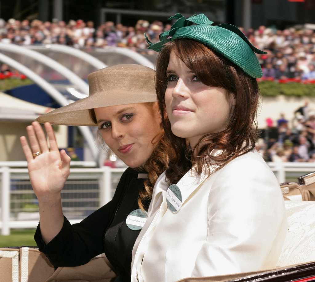 Princess Beatrice of York and Princess Eugenie of York arrive in a horse drawn carriage on the opening day of Royal Ascot last year.