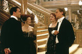 Billy Zane, Frances Fisher, Kate Winslet, and Leonardo DiCaprio in Titanic.  Photo courtesy of Paramount Pictures