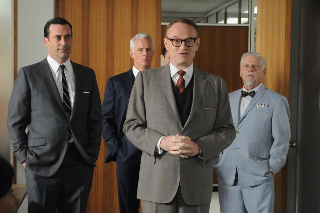 Jon Hamm as Don Draper, John Slattery as Roger Sterling, Jared Harris as Lane Pryce, and Robert Morse as Bert Cooper on Mad Men.  Photo courtesy of AMC