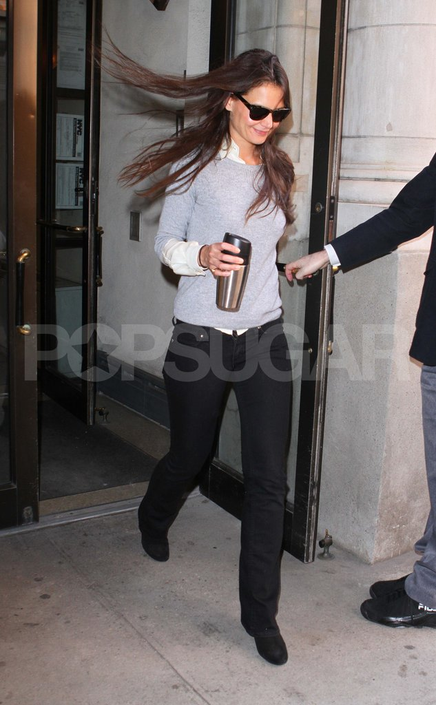 Katie Holmes Grins and Bears a Blustery Day